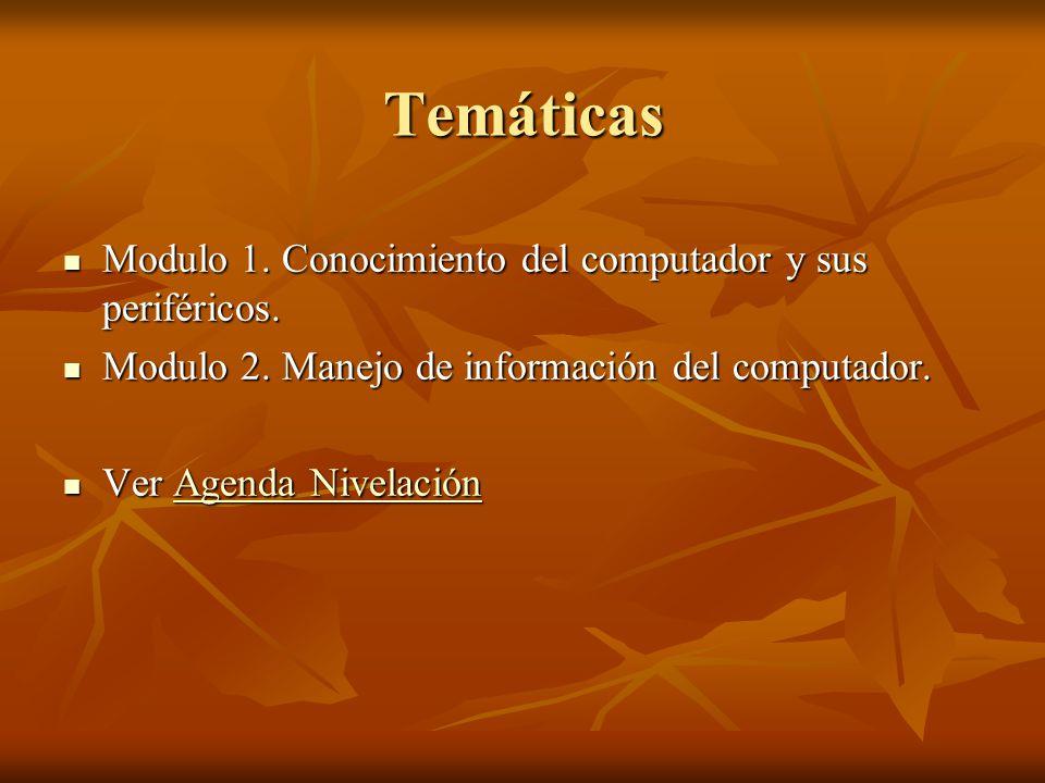 Temáticas Modulo 1. Conocimiento del computador y sus periféricos.