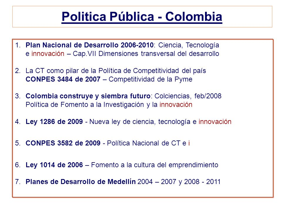 Politica Pública - Colombia