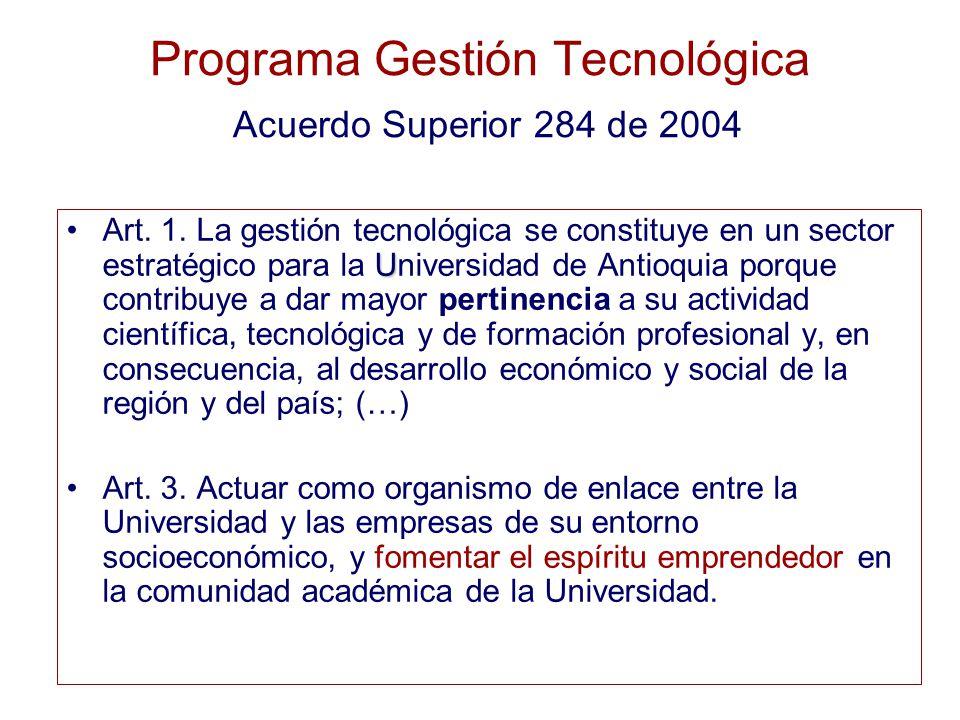 Programa Gestión Tecnológica Acuerdo Superior 284 de 2004