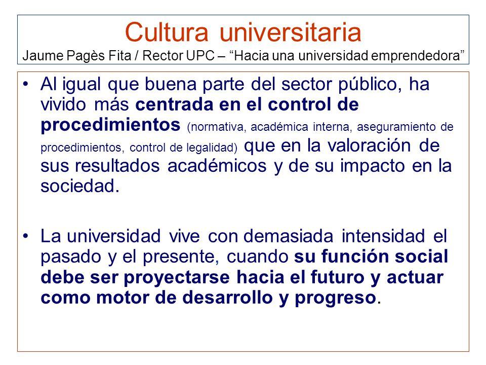 Cultura universitaria Jaume Pagès Fita / Rector UPC – Hacia una universidad emprendedora