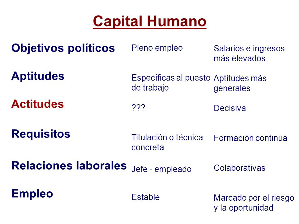 Capital Humano Objetivos políticos Aptitudes Actitudes Requisitos