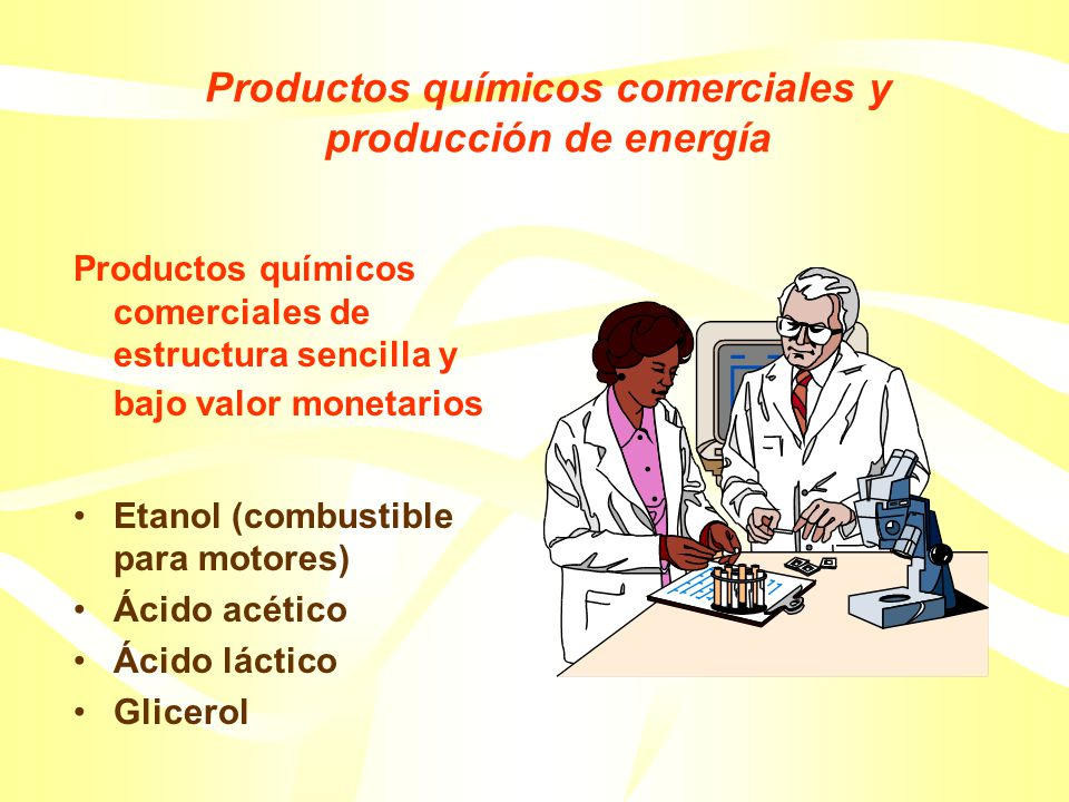 Productos químicos comerciales y producción de energía