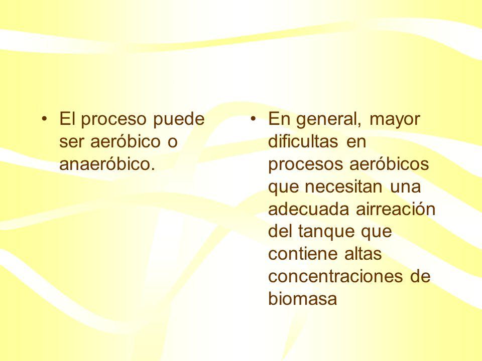 El proceso puede ser aeróbico o anaeróbico.