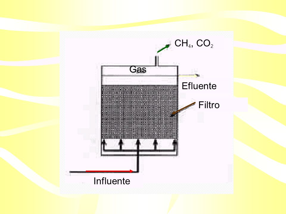 CH4, CO2 Influente Efluente Filtro Gas