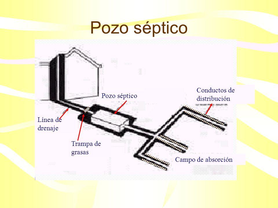 Pozo séptico Conductos de distribución Pozo séptico Línea de drenaje