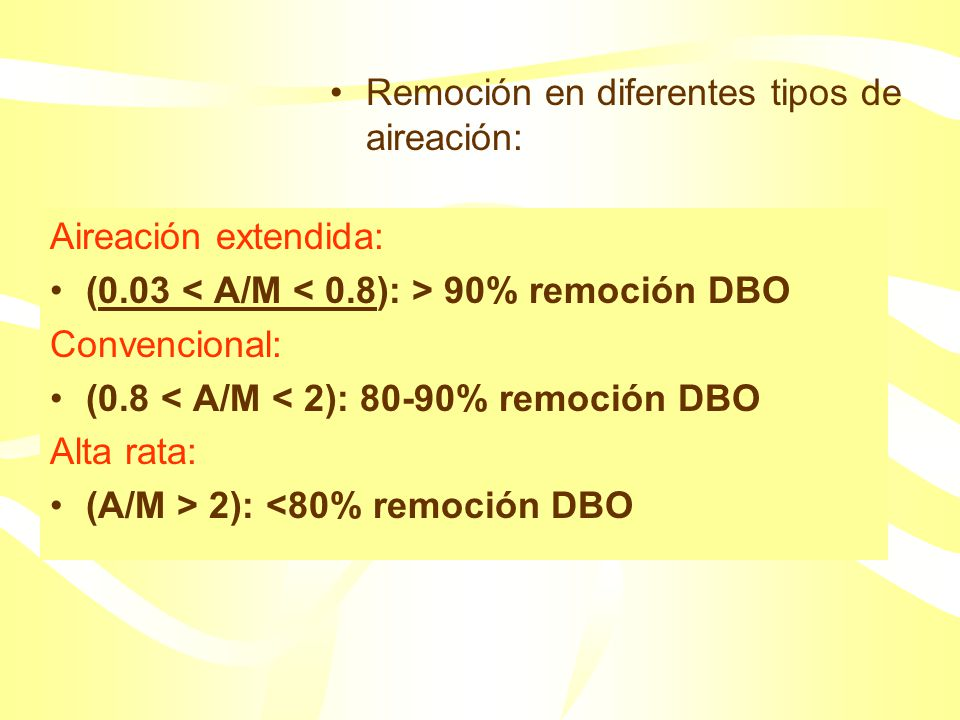 Remoción en diferentes tipos de aireación: