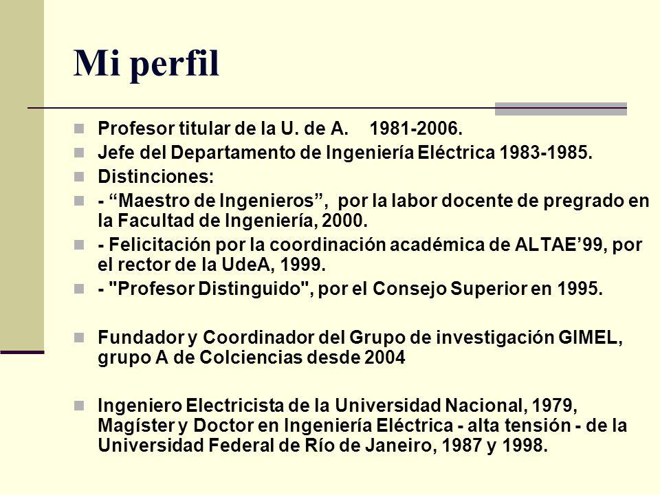 Mi perfil Profesor titular de la U. de A. 1981-2006.