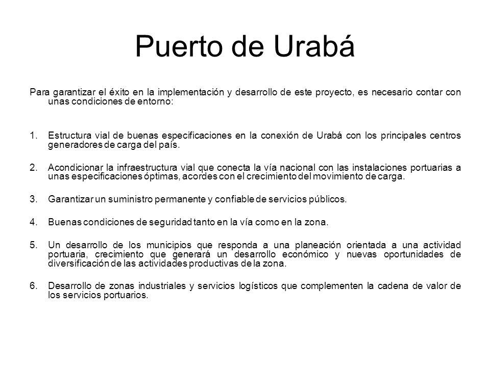 Puerto de Urabá Para garantizar el éxito en la implementación y desarrollo de este proyecto, es necesario contar con unas condiciones de entorno: