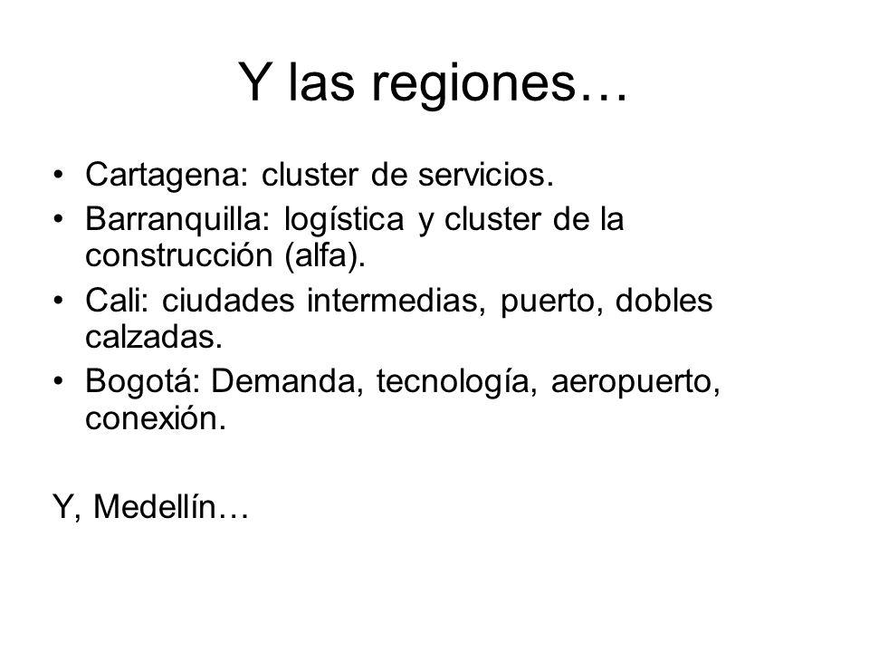 Y las regiones… Cartagena: cluster de servicios.