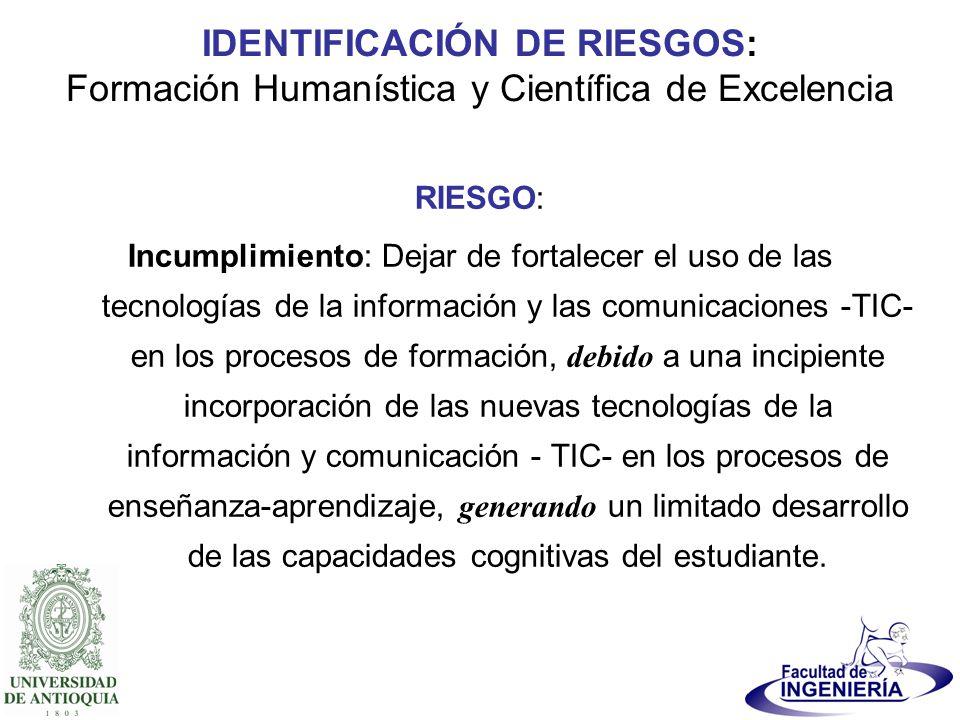 IDENTIFICACIÓN DE RIESGOS: Formación Humanística y Científica de Excelencia