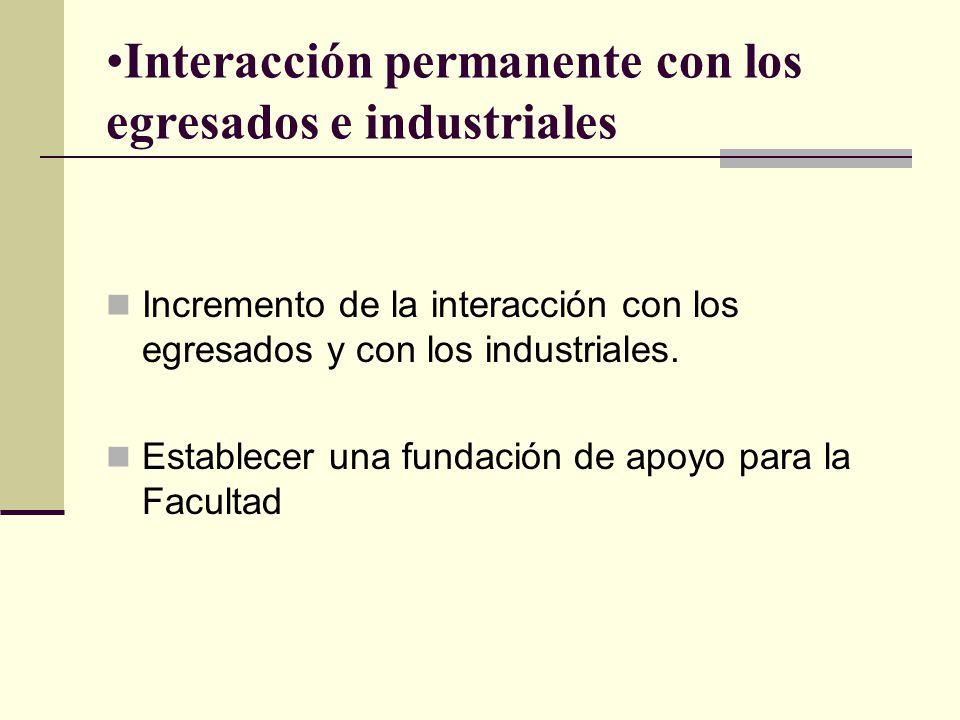 Interacción permanente con los egresados e industriales