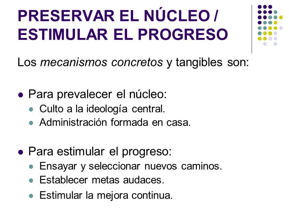 PRESERVAR EL NÚCLEO / ESTIMULAR EL PROGRESO