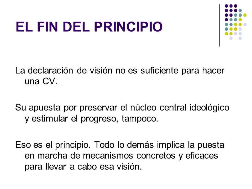EL FIN DEL PRINCIPIO La declaración de visión no es suficiente para hacer una CV.