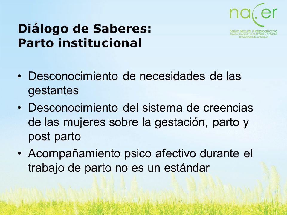 Diálogo de Saberes: Parto institucional