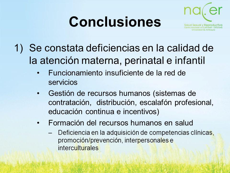 Conclusiones Se constata deficiencias en la calidad de la atención materna, perinatal e infantil. Funcionamiento insuficiente de la red de servicios.