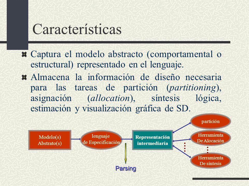 Características Captura el modelo abstracto (comportamental o estructural) representado en el lenguaje.