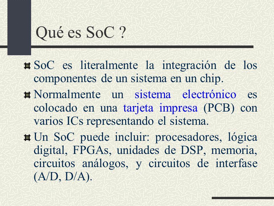 Qué es SoC SoC es literalmente la integración de los componentes de un sistema en un chip.