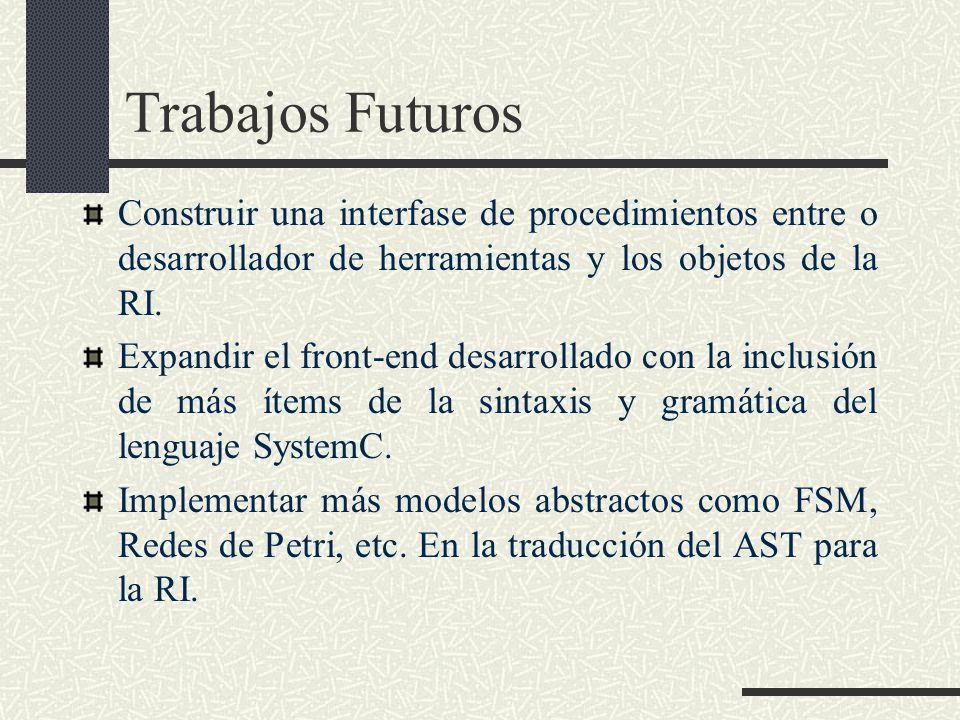 Trabajos Futuros Construir una interfase de procedimientos entre o desarrollador de herramientas y los objetos de la RI.