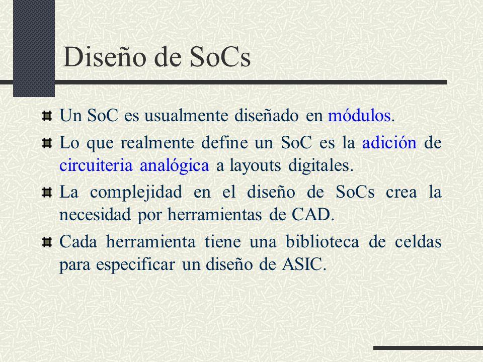 Diseño de SoCs Un SoC es usualmente diseñado en módulos.