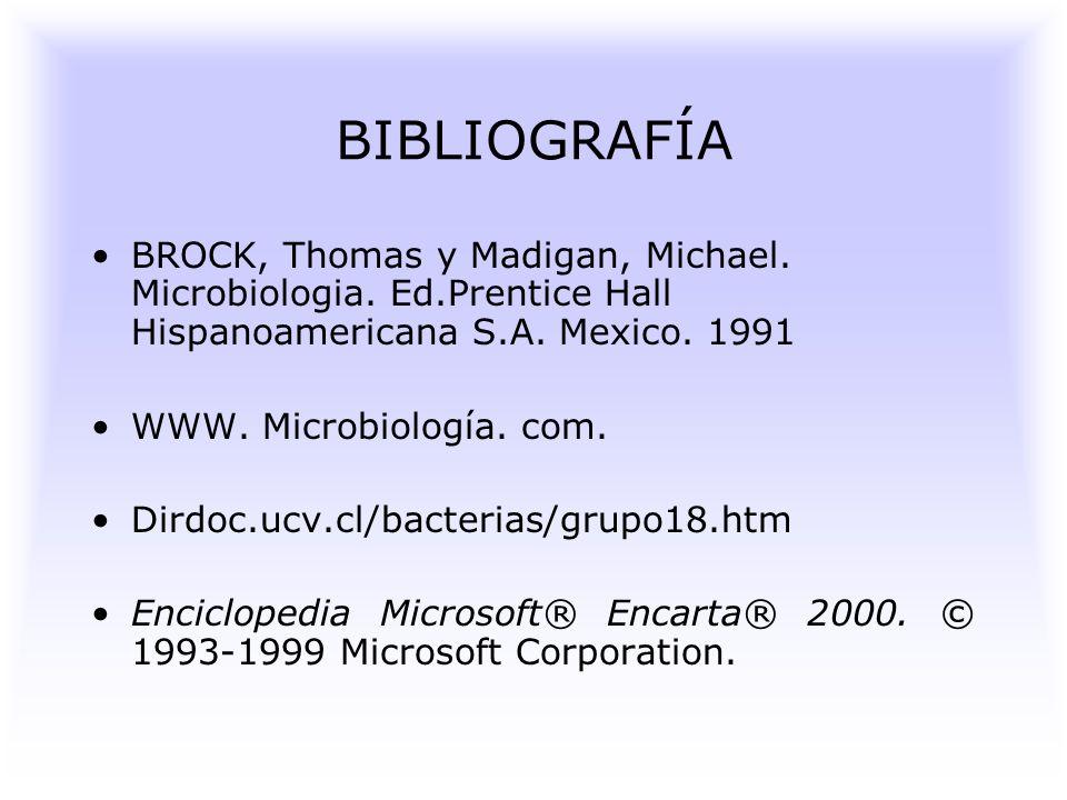BIBLIOGRAFÍA BROCK, Thomas y Madigan, Michael. Microbiologia. Ed.Prentice Hall Hispanoamericana S.A. Mexico. 1991.