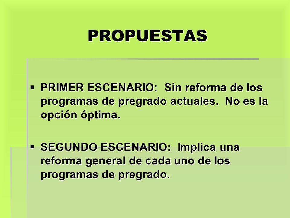 PROPUESTAS PRIMER ESCENARIO: Sin reforma de los programas de pregrado actuales. No es la opción óptima.