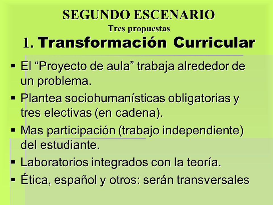 SEGUNDO ESCENARIO Tres propuestas 1. Transformación Curricular