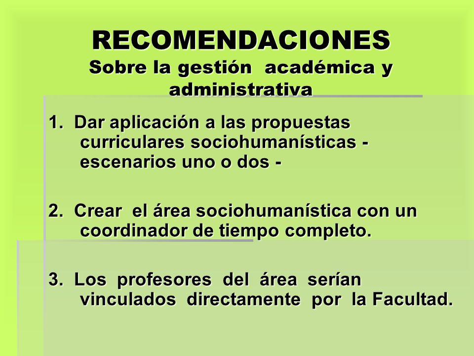 RECOMENDACIONES Sobre la gestión académica y administrativa