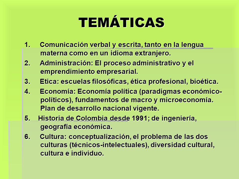 TEMÁTICAS 1. Comunicación verbal y escrita, tanto en la lengua materna como en un idioma extranjero.
