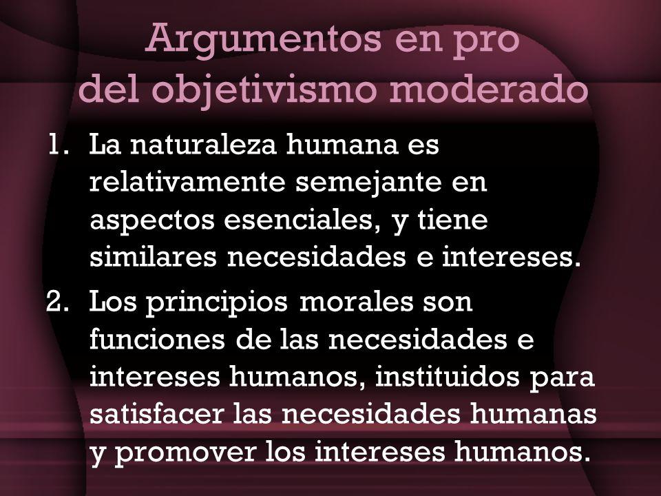 Argumentos en pro del objetivismo moderado