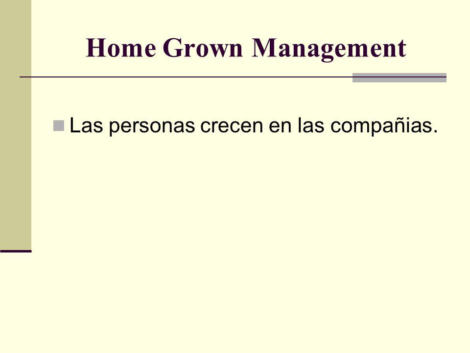 Home Grown Management Las personas crecen en las compañias.