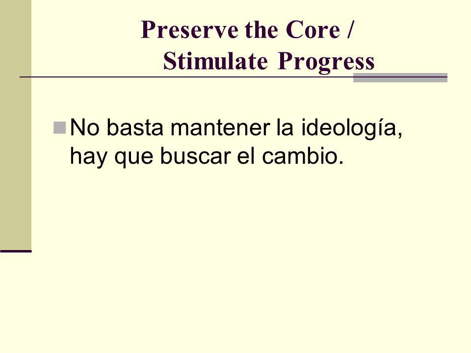 Preserve the Core / Stimulate Progress