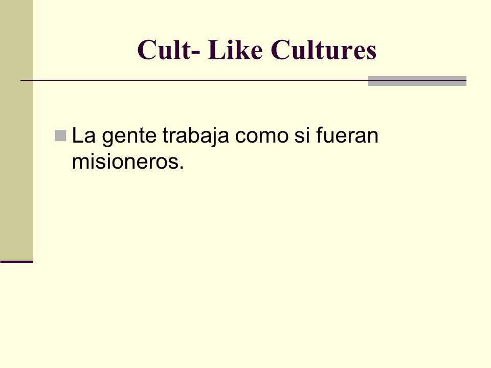 Cult- Like Cultures La gente trabaja como si fueran misioneros.