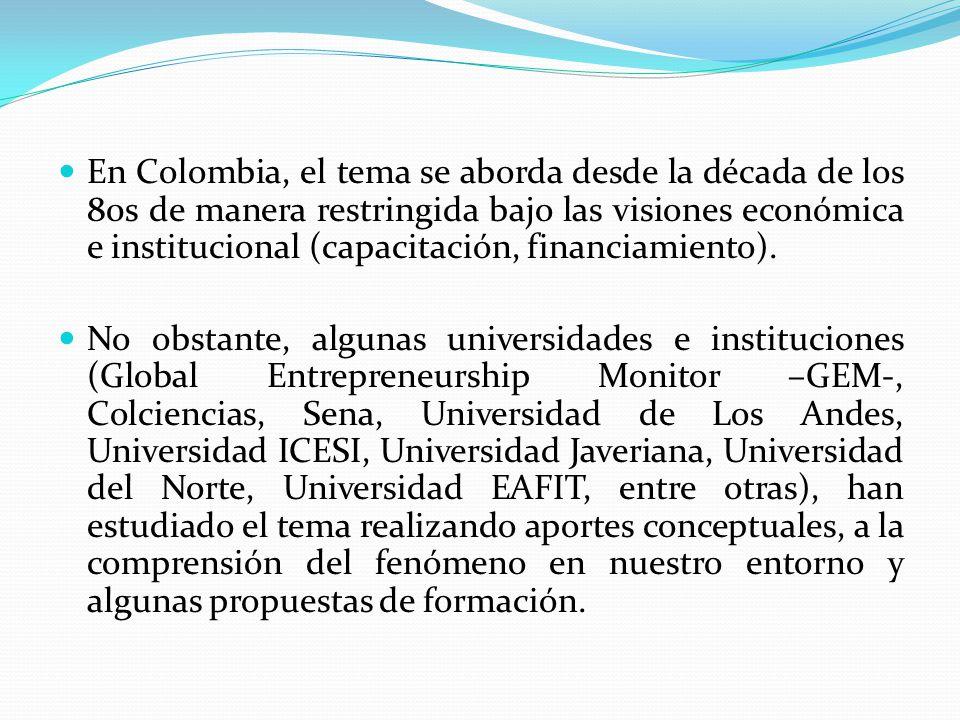En Colombia, el tema se aborda desde la década de los 80s de manera restringida bajo las visiones económica e institucional (capacitación, financiamiento).