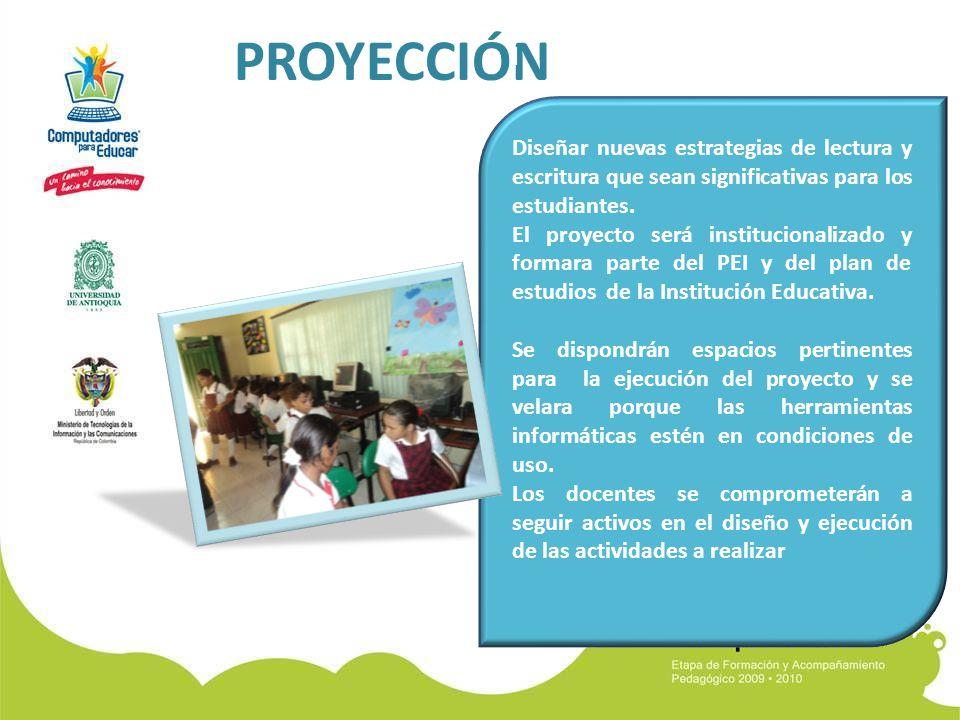 PROYECCIÓN Es importante seguir ejecutando actividades que impliquen el uso de l.