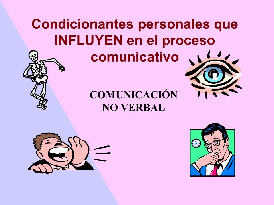 Condicionantes personales que INFLUYEN en el proceso comunicativo