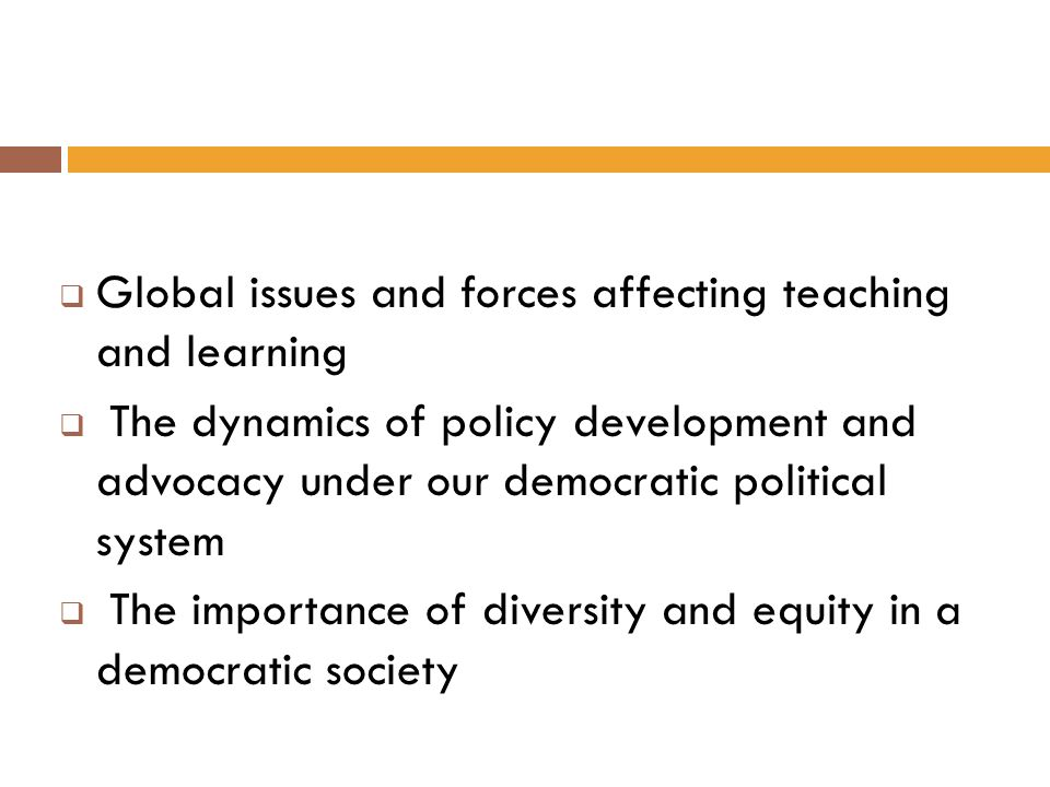 Global issues and forces affecting teaching and learning
