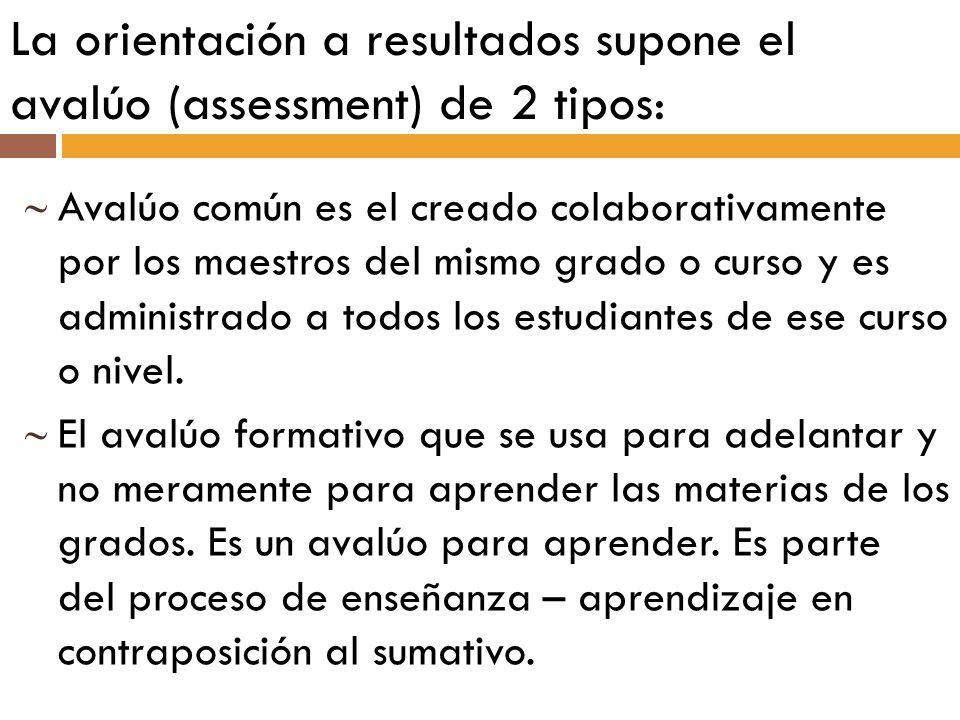 La orientación a resultados supone el avalúo (assessment) de 2 tipos: