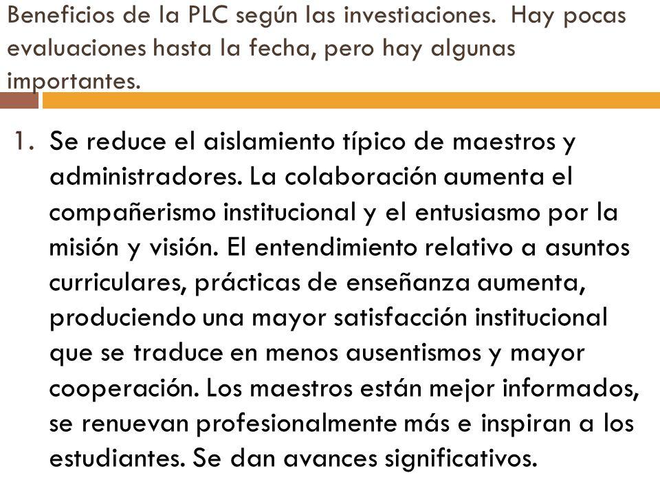 Beneficios de la PLC según las investiaciones