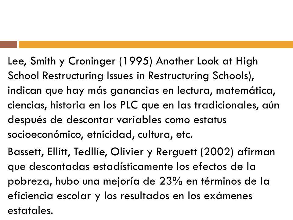 Lee, Smith y Croninger (1995) Another Look at High School Restructuring Issues in Restructuring Schools), indican que hay más ganancias en lectura, matemática, ciencias, historia en los PLC que en las tradicionales, aún después de descontar variables como estatus socioeconómico, etnicidad, cultura, etc.