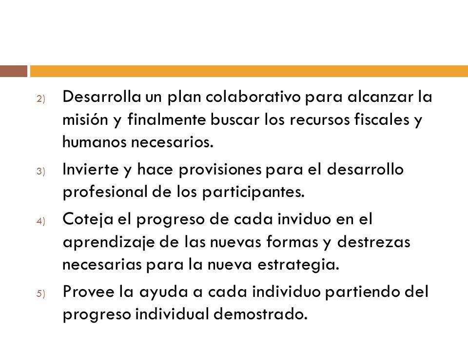 Desarrolla un plan colaborativo para alcanzar la misión y finalmente buscar los recursos fiscales y humanos necesarios.