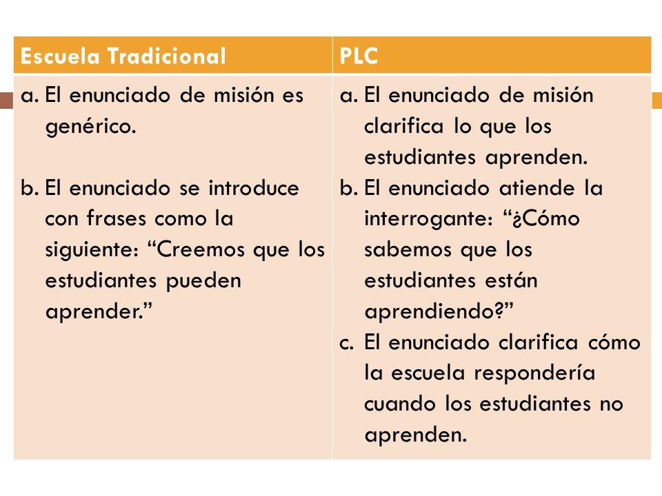 Escuela Tradicional PLC. El enunciado de misión es genérico.