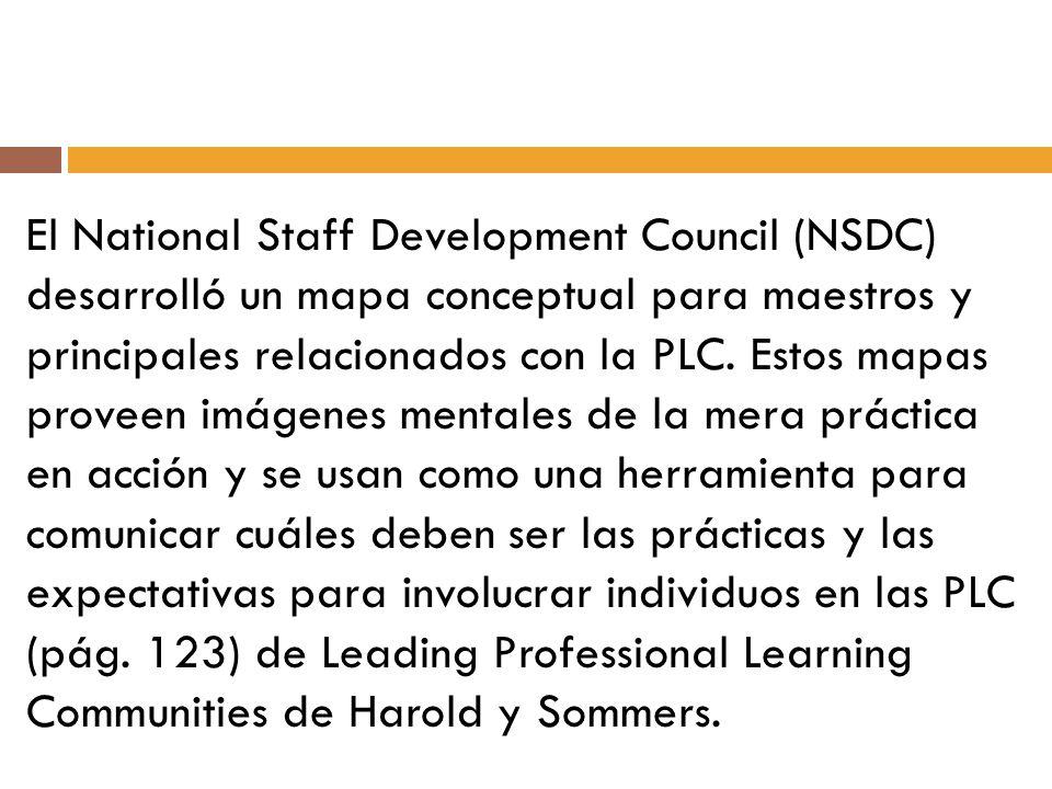 El National Staff Development Council (NSDC) desarrolló un mapa conceptual para maestros y principales relacionados con la PLC.