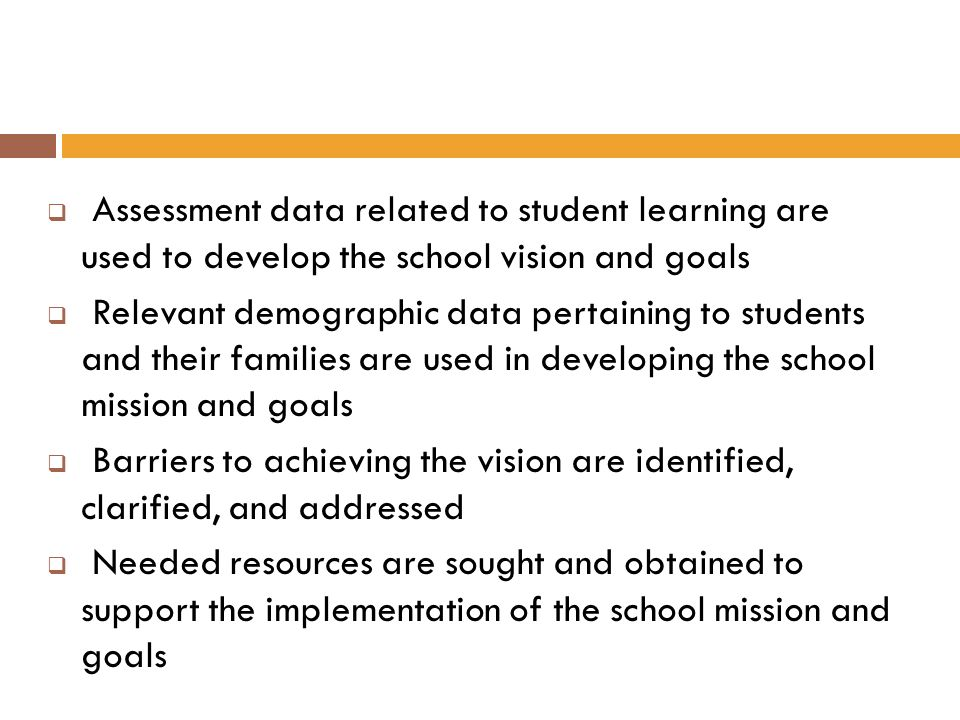 Assessment data related to student learning are used to develop the school vision and goals