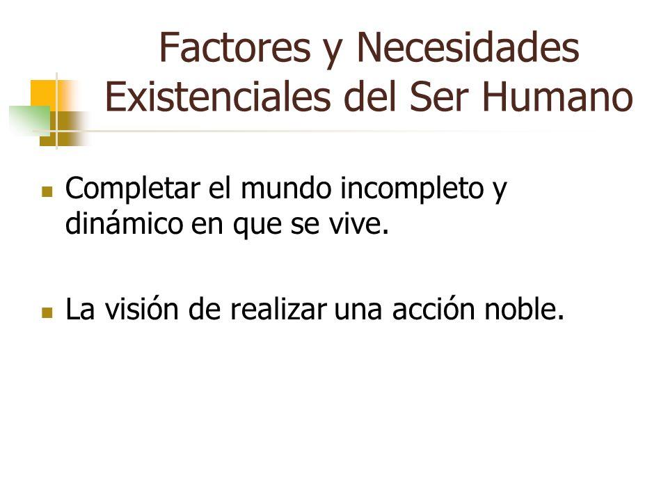 Factores y Necesidades Existenciales del Ser Humano