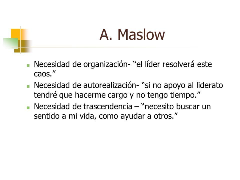 A. Maslow Necesidad de organización- el líder resolverá este caos.