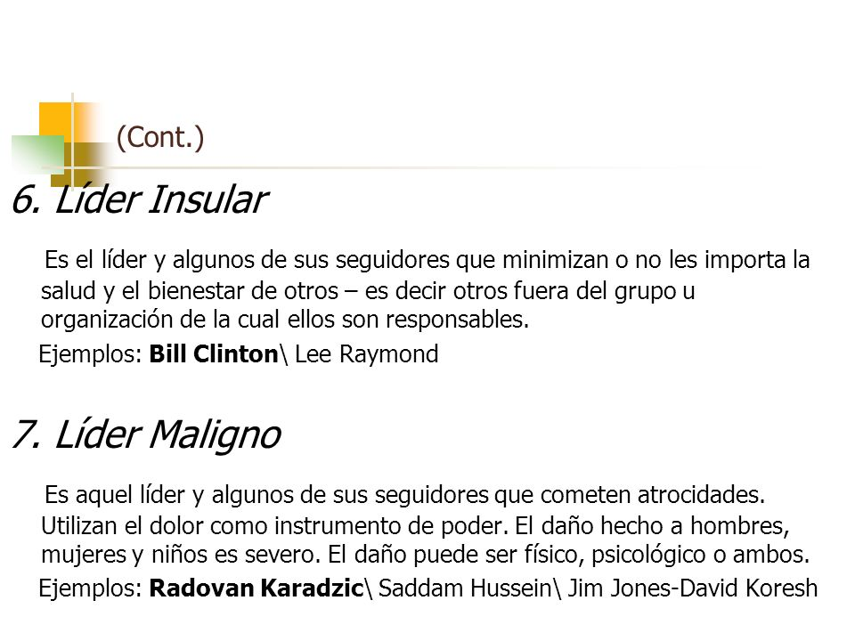 (Cont.) 6. Líder Insular.