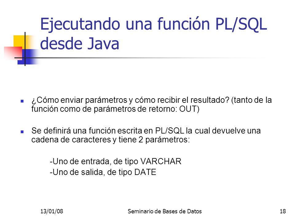 Ejecutando una función PL/SQL desde Java