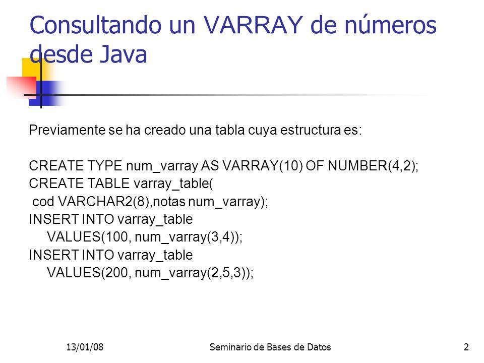 Consultando un VARRAY de números desde Java