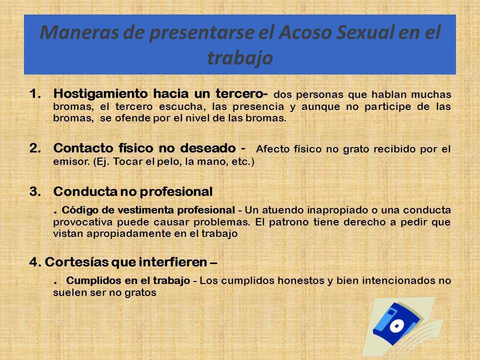 Maneras de presentarse el Acoso Sexual en el trabajo