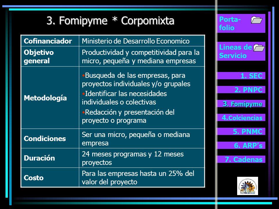 3. Fomipyme * Corpomixta Porta- folio Cofinanciador